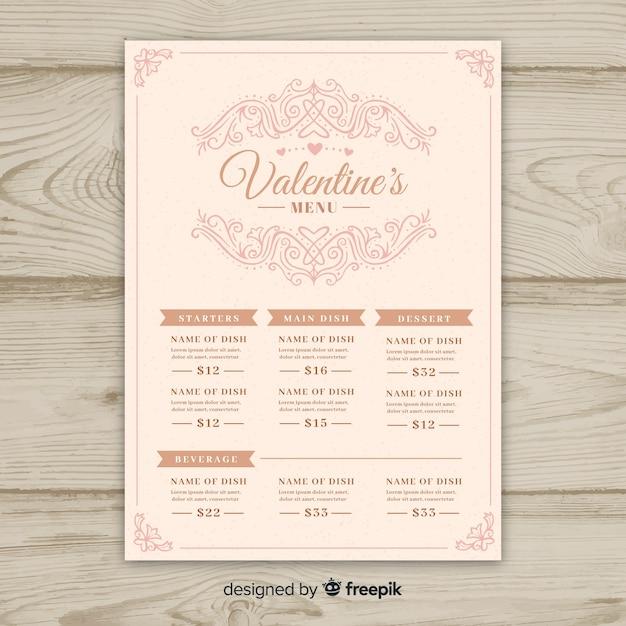 Modelo de menu ornamental dos namorados Vetor grátis