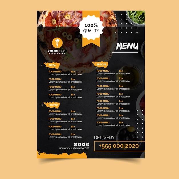 Modelo de menu para pizzaria Vetor grátis