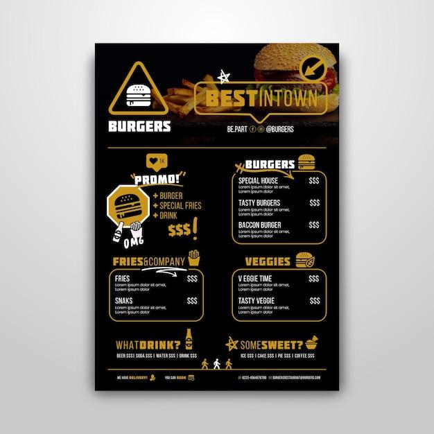 Modelo de menu para restaurante de hambúrguer Vetor Premium