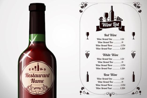 Modelo de menu - para vinho e álcool com garrafa de vinho tinto realista e rótulo Vetor Premium