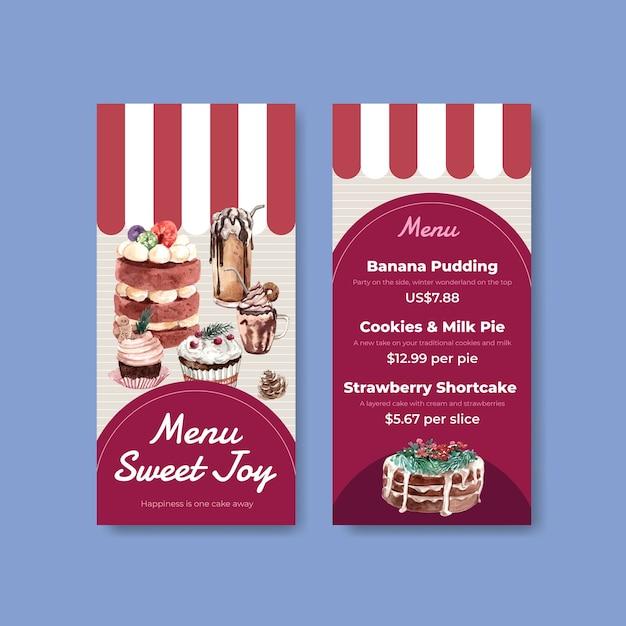 Modelo de menu pequeno com doces de inverno em estilo aquarela Vetor grátis