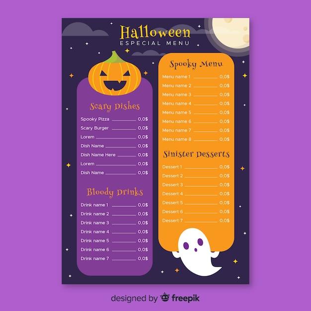 Modelo de menu plana halloween Vetor grátis