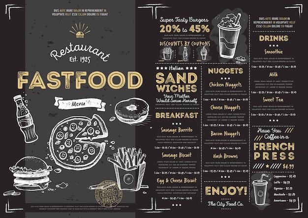 Modelo de menu restaurante café fast-food Vetor Premium