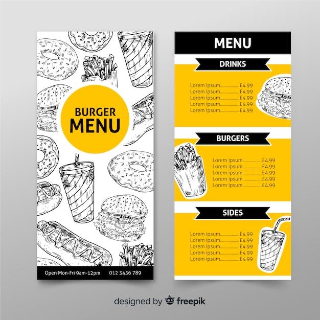 Modelo de menu restaurante hambúrguer na mão desenhada Vetor grátis