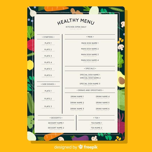 Modelo de menu saudável colorido Vetor grátis