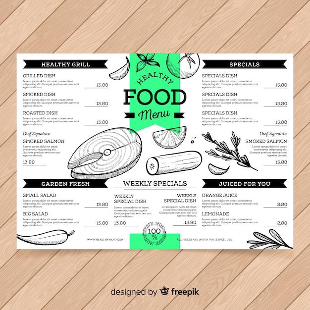 Modelo de menu saudável de mão desenhada Vetor grátis