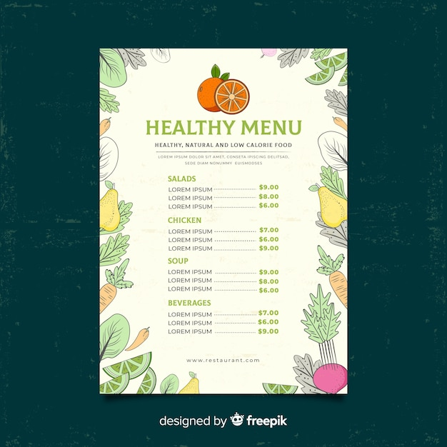 Modelo de menu saudável de moldura vegetal Vetor grátis