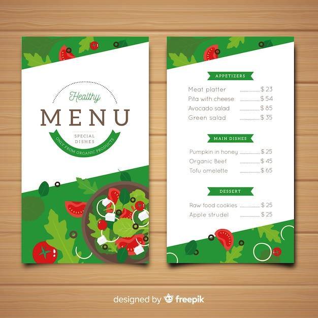 Modelo de menu saudável plana Vetor grátis