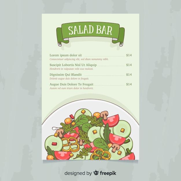 Modelo de menu saudável salada mão desenhada Vetor grátis