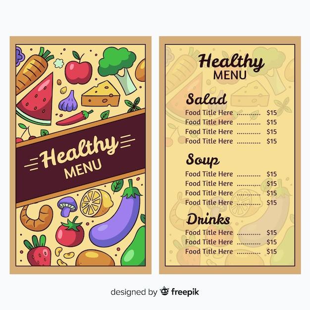 Modelo de menu saudável Vetor grátis