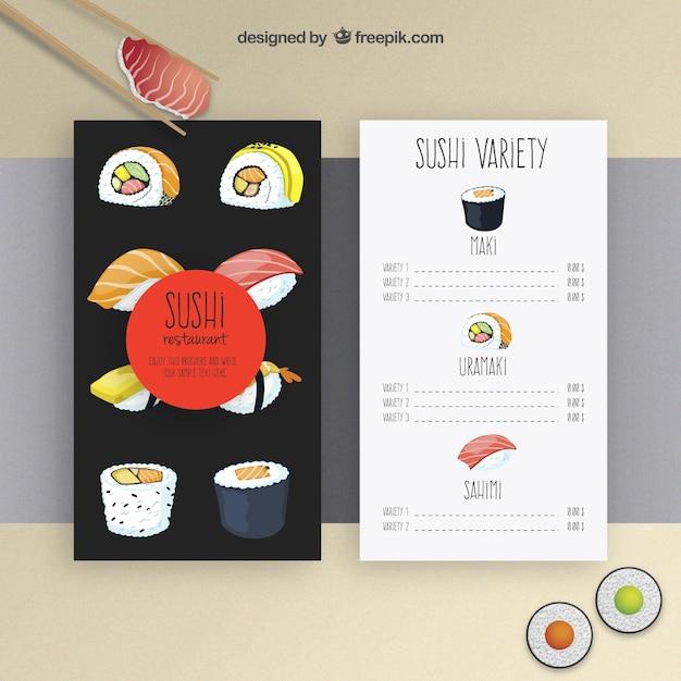 Modelo de menu sushi Vetor grátis