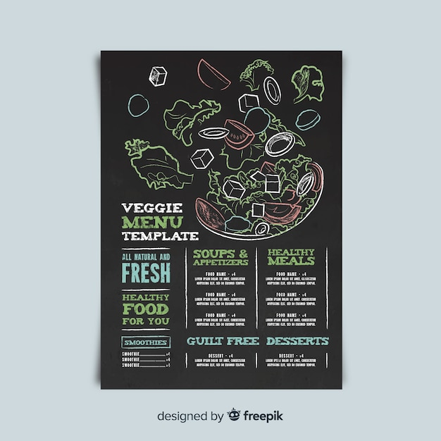 Modelo de menu vegetariano Vetor grátis