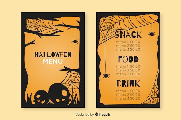 Modelo de menu vintage de halloween de mão desenhada Vetor grátis
