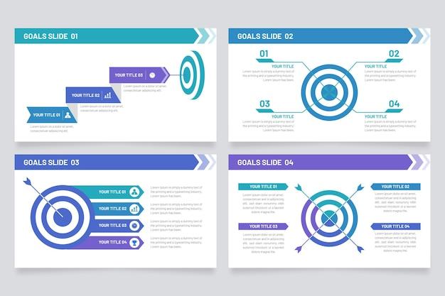 Modelo de metas de infográficos Vetor Premium
