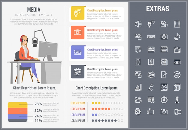 Modelo de mídia infográfico, elementos e ícones Vetor Premium