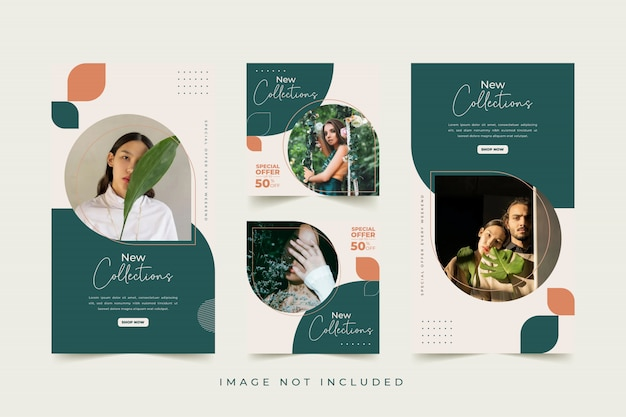 Modelo de mídia social de mulher moda com fundo colorido Vetor Premium