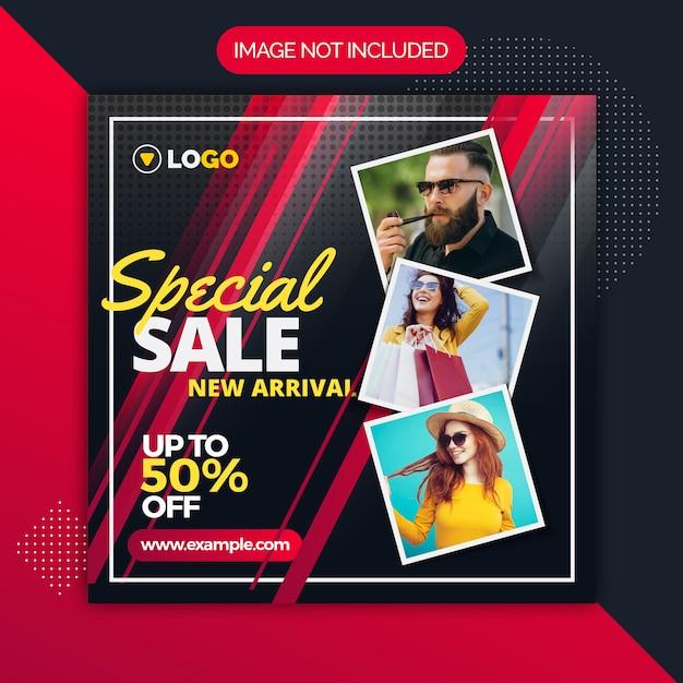 Modelo de mídia social do instagram de venda especial Vetor Premium