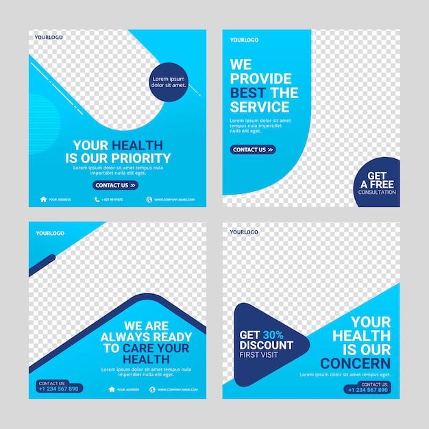 Modelo de mídia social pós-saúde Vetor Premium