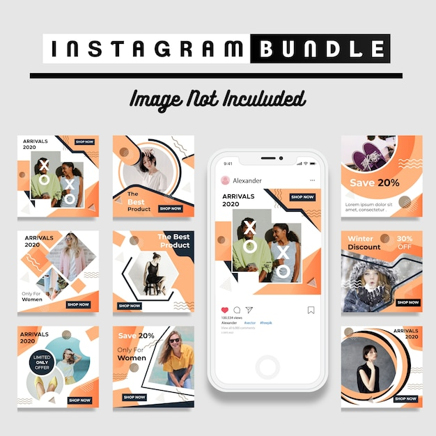 Modelo de moda moderno instagram post Vetor Premium