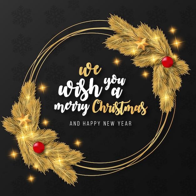 Modelo de moldura dourada realista de feliz natal Vetor grátis