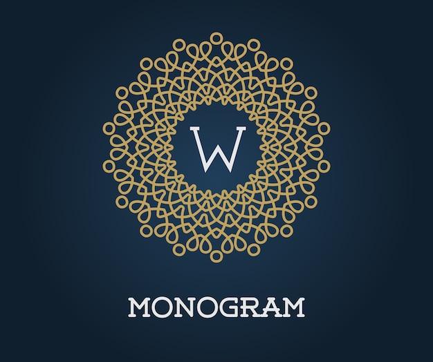 Modelo de monograma com ilustração de letras ouro elegante de qualidade superior em azul marinho Vetor Premium