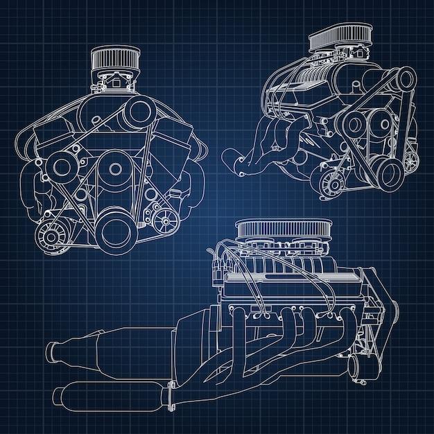 Modelo de motor desenhado de mão Vetor Premium
