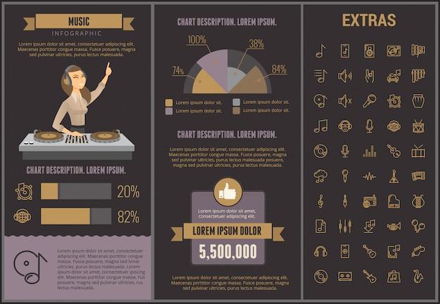 Modelo de música infográfico, elementos e ícones Vetor Premium