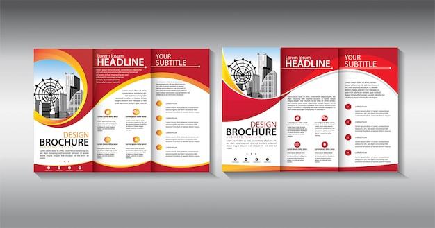 Modelo de negócio com três dobras folheto vermelho Vetor Premium