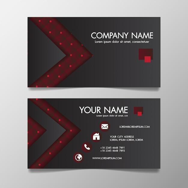 Modelo de negócio criativo moderno vermelho e preto estampado e cartão de visita, horizontal simples limpo Vetor Premium