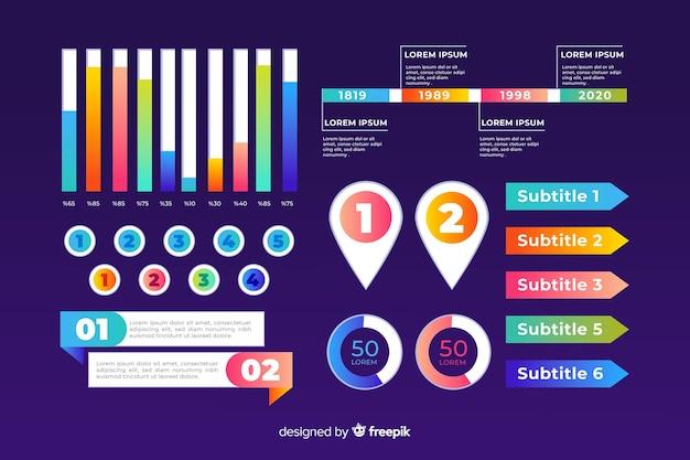 Modelo de negócio de conjunto de infográfico Vetor grátis
