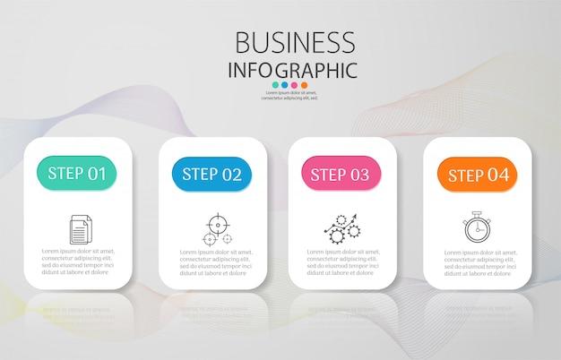 Modelo de negócio de design 4 opções infográfico elemento gráfico. Vetor Premium