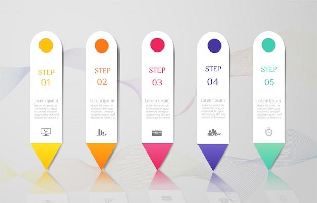 Modelo de negócio de design 5 opções infográfico elemento gráfico. Vetor Premium