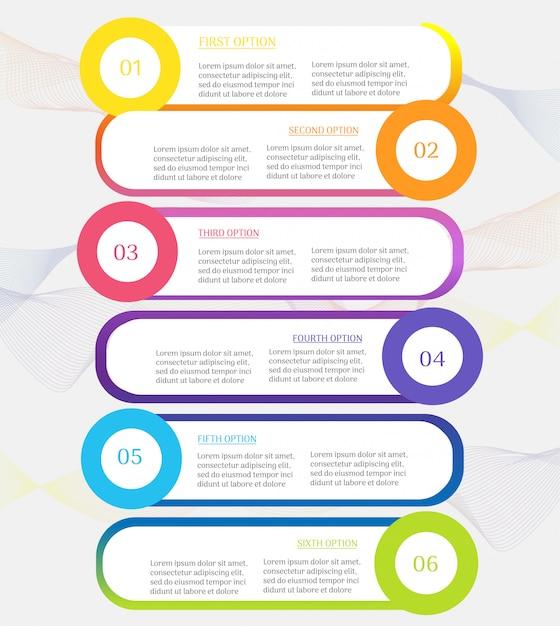 Modelo de negócio de design 6 etapas infográfico gráfico elemento. Vetor Premium