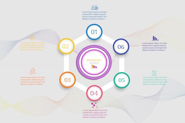 Modelo de negócio de design 6 opções infográfico elemento gráfico. Vetor Premium