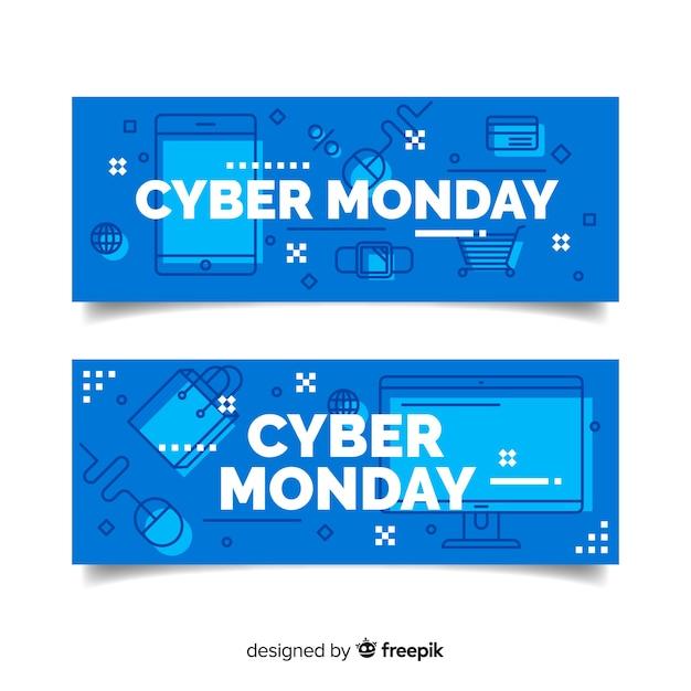 Modelo de negócio de design plano cyber segunda-feira Vetor grátis