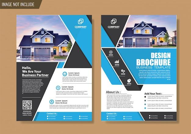 Modelo de negócio de folheto e brochura de capa para o relatório anual de design Vetor Premium