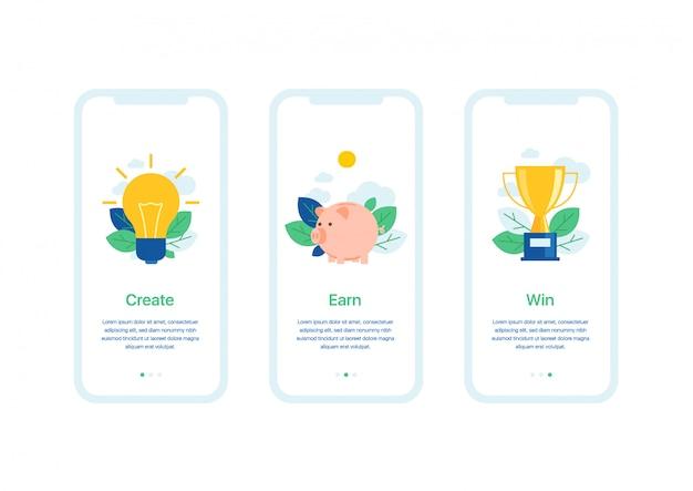 Modelo de negócio de interface de usuário de aplicativo móvel de telas de boas-vindas Vetor Premium