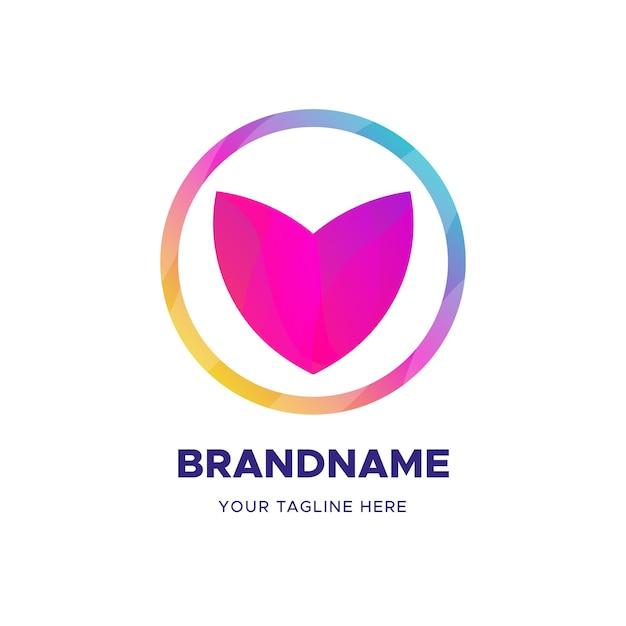 Modelo de negócio de logotipo em forma de coração abstrato Vetor Premium