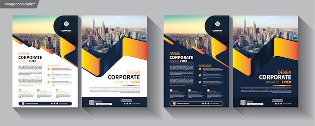 Modelo de negócio de panfleto para brochura de capa corporativa Vetor Premium