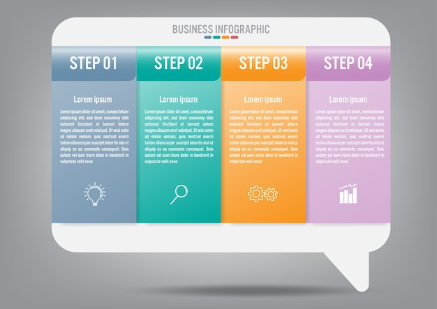 Modelo de negócio infográfico com 4 opções Vetor Premium