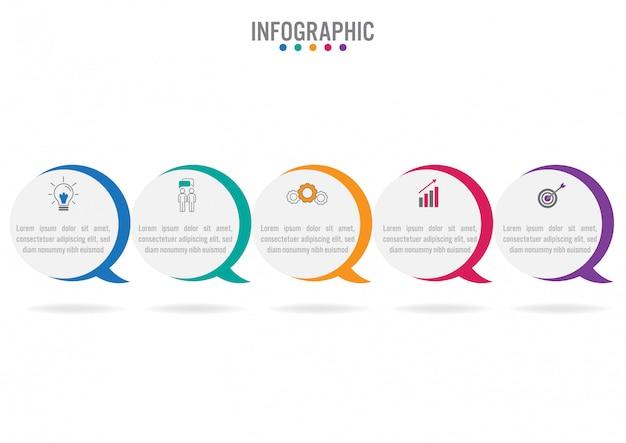 Modelo de negócio infográfico com 5 opções Vetor Premium