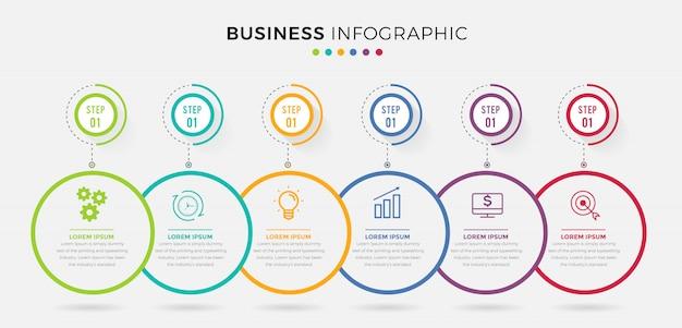 Modelo de negócio infográfico. design de linha fina com números 6 opções ou etapas. Vetor Premium