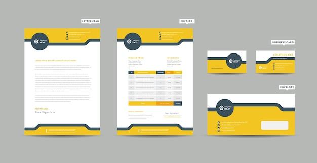 Modelo de negócios corporativos de papelaria Vetor Premium