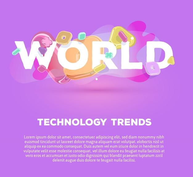 Modelo de negócios moderno com elementos de cristal brilhante e palavra mundo no fundo roxo com sombra, título e texto. Vetor Premium