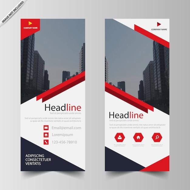 Modelo de negócios roll up banner vermelho Vetor Premium