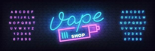 Modelo de néon de loja vape. letras brilhantes loja vape Vetor Premium