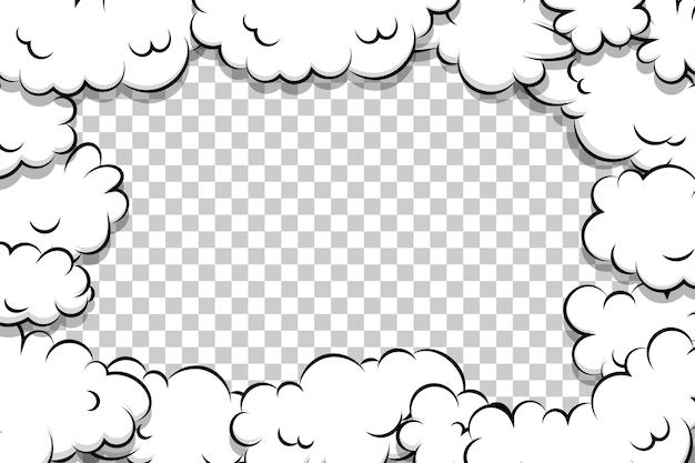 Modelo de nuvem de sopro de desenho animado em quadrinhos transparente Vetor Premium