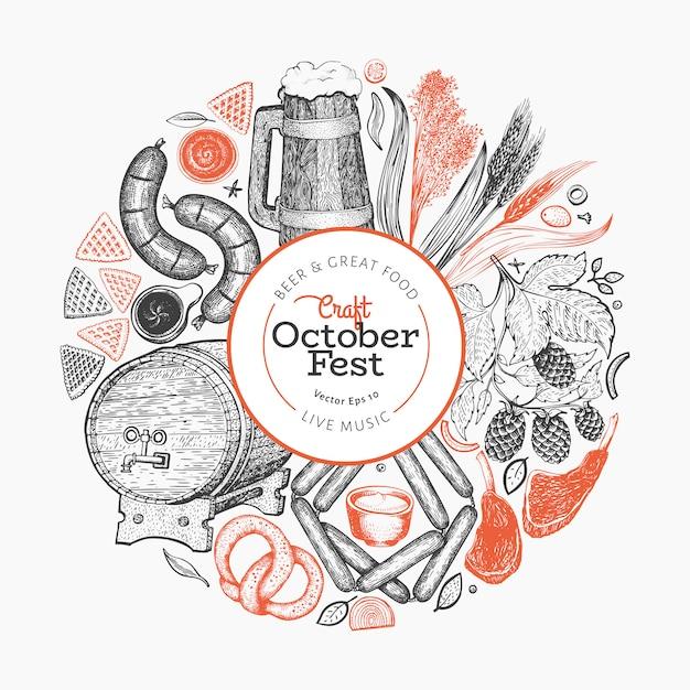 Modelo de octoberfest. mão ilustrações desenhadas. Vetor Premium