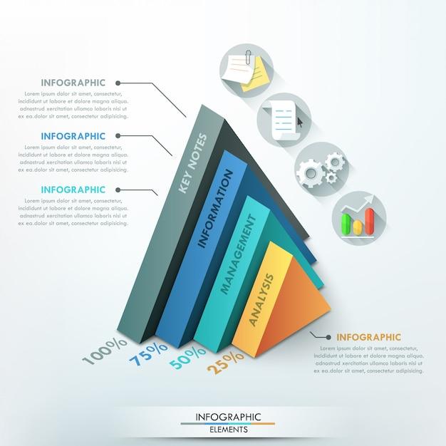 Modelo de opção 3d infográfico moderno com pirâmides Vetor Premium