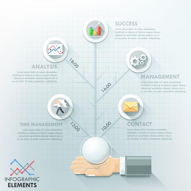 Modelo de opções de infográfico de mão de negócios Vetor Premium